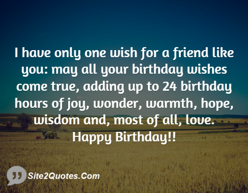 I Have Only One Wish For A Friend Like You May All Your Birthday Happy Birthday Wisdom Wishes