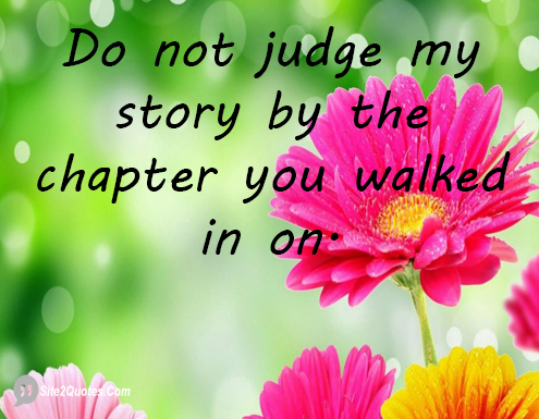Do Not Judge My Story by the Chapter - Attitude Quotes - Site2Quote