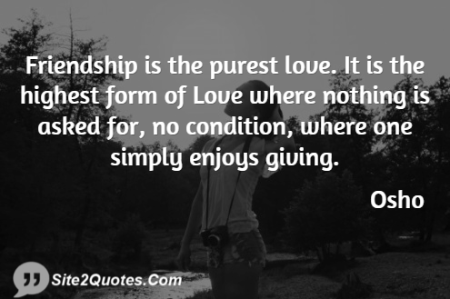 Friendship Is The Purest Love - Friendship Quotes - Osho