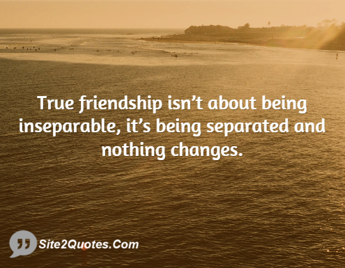 True Friendship Isn't About Being Inseparable - Friendship Quotes - Site2Quote