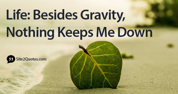 Life: Besides Gravity, Nothing Keeps Me Down