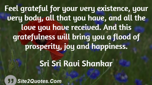 Feel Grateful for Your Very Existence - Happiness Quotes - Sri Sri Ravi Shankar